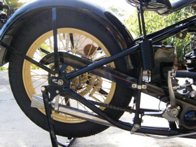 1930 Excelsior Super X Rear Motorcycle Tire and Fender