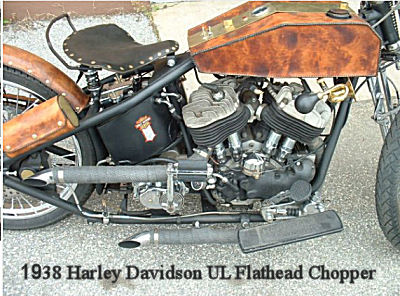 Custom 1938 Flathead Harley Davidson UL Chopper w an early model 4 speed transmission rebuilt with all Andrews gears, 80 cubic inches motor and MORE