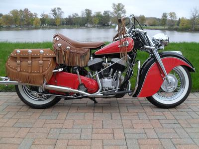 Beautifully Restored Red 1946 Indian Chief Motorcycle