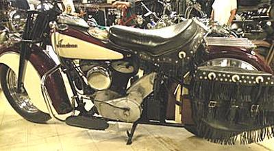 1947 Indian Chief motorcycle with burgundy maroon (red wine?) and white paint color