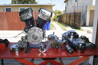 Titled 1963 Harley Davidson Panhead FLH lEngine and Motor Parts Lot