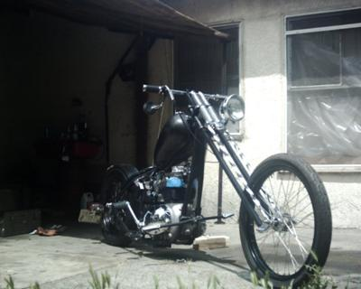 1968 BSA CHOPPER project motorcycle with a flat black frame and lots of chrome