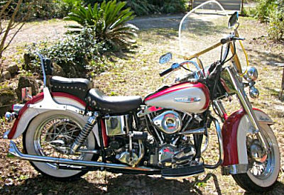 Cherry 1969 Harley Davidson Electra Glide FLH Shovelhead Motorcycle w a kick and electric start, Gangster whitewalls and the original motorcycle frame, transmission and horn