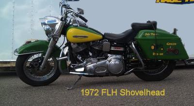 1972 Harley Davidson FLH Shovelhead Motorcycle with a Custom Paint Job
