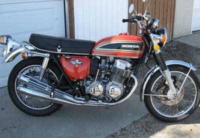 1973 HONDA 750 MOTORCYCLE red black