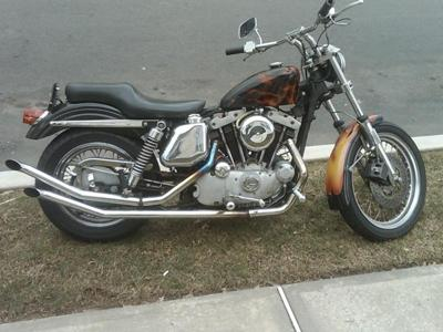 1974 Harley Ironhead for Sale Black and Brown Flames