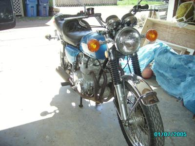 Blue 1974 Honda CB550 (this motorcycle is for example only; please contact seller for pics of the actual bike for sale)