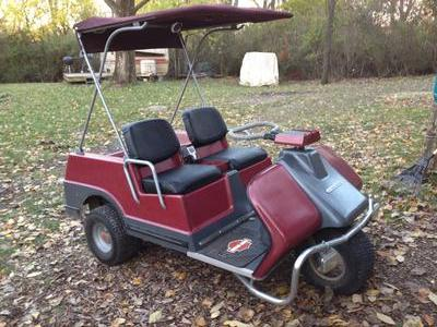 1975 HD 3-Wheel 2-stroke Golf Cart for sale by owner.  The cart has new headlights not shown on this photo