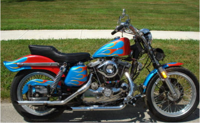1976 Harley Davidson Ironhead Sportster Robins Egg Blue and Red Vintage