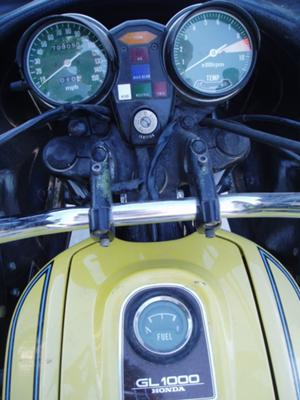 Yellow 1976 Honda Goldwing fuel tank and instrument panel