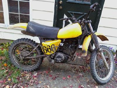 Yellow 1977 Yamaha Yz400 Dirt Bike Motorcycle (this photo is for example only; please contact seller for pics of the actual vintage dirt bike for sale in this classified)