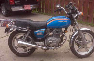 1978 CB400A Hondamatic motorcycle for sale painted red and blue paint