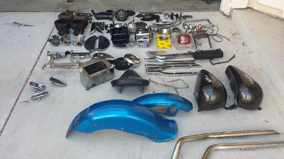 1978 Harley Davidson Shovelhead Motorcycle Parts including blue Fenders