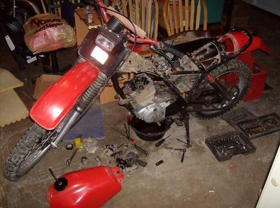Left Side of a 1979 Honda XR250 parts motorcycle (example only; please contact seller for pics)