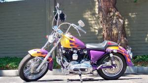 1980 Harley Davidson IronHead Iron Head Sportster  with Purple, Gold and Yellow Custom Fuel Tank Paint Job with Flame Graphics Art