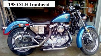 Blue 1980 XLH Harley Davidson Ironhead Sportster w. Drag Pipes