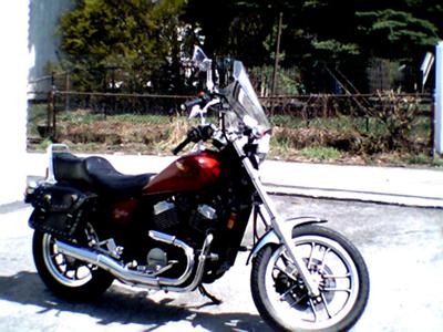 Red 1984 Honda VT500C Shadow