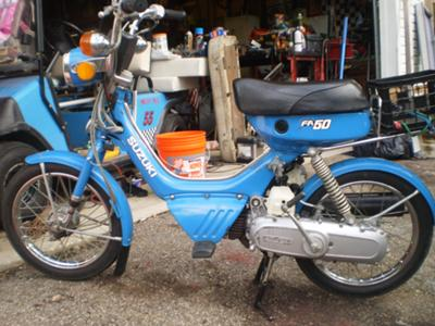 Mint blue 1984 Suzuki fa50 two speed moped scooter with automatic transmission