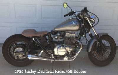 1986 Honda Rebel 450 Bobber Motorcycle (this photo is for example only; please contact seller for pics of the actual motorcycle for sale in this classified)