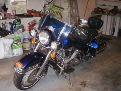 1989 Harley ROAD KING FLHP Blue Gray Paint with Flames Tank Graphics Art