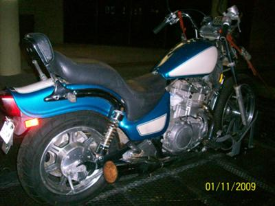 1993 Kawasaki Vulcan 500 on the motorcycle trailer before rebuild