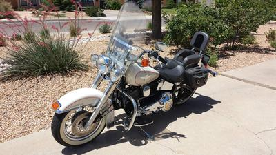 Platinum silver/Birch white paint color with Scarlett pinstriping 1994 Harley Davidson Softail Nostalgia FLSTN for sale by owner in New Mexico NM