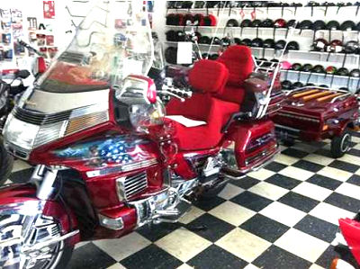 1994 Honda 1500 Goldwing GL1500 and Enclosed Burgundy Red Wine Maroon Motorcycle Trailer