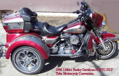 1340cc 1996 Harley Davidson Electra Glide Trike motorcycle conversion kit FLHTC-ULT