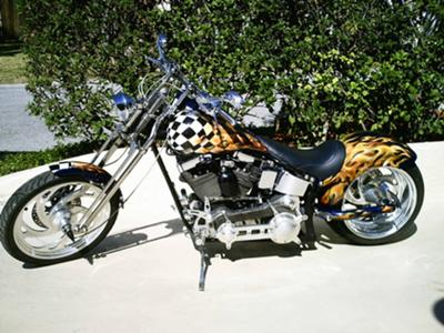 Checkered Fuel Tank and Flames Art 1997 Custom CMC Wide Rider Chopper