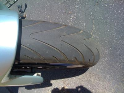 Silver 1998 BMW RT1100 Michelin motorcycle Tire