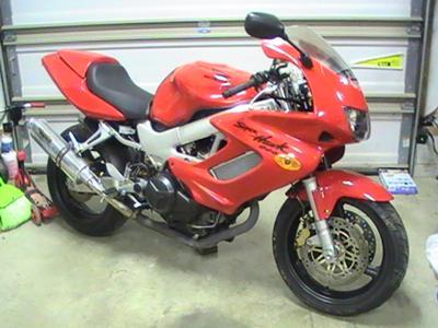 Red 1998 Honda VTR 1000