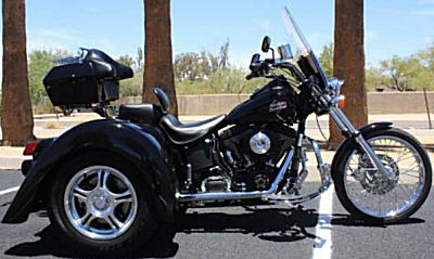 Black 2000 Harley Night Train Softail FXSTB Trike with a Champion trike conversion kit