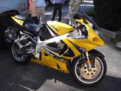 Bright Yellow 2000 Suzuki GSXR 750 Motorcycle