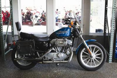 2001 Harley Davidson Sportster 883 Hugger  XL883H with teal blue paint color option quick release windsheeld, saddlebags, fuel tank bra and a touring motorcycle seat