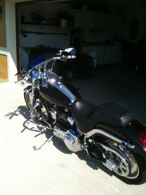 2001 Harley Davidson Softail Deuce Black House of Color Motorcycle Paint Job with Red Pinstripes