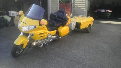 Bright Yellow 2002 Honda Goldwing and Motorcycle Trailer