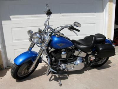 2002 Impact Blue Harley Davidson Fatboy FLSTFI