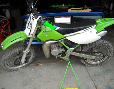 Neon Lime Green and White 2002 Kawasaki KX100