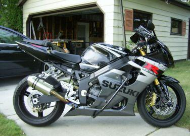 Silver and Black 2002 Suzuki GSXR 1000