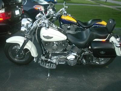 100th Anniversary Edition Pearl White 2003 Harley Davidson Fatboy w Chrome Skull wheels, Front end and Arlen Ness Exhaust