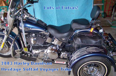 2003 Harley Trike Softail with a removable Voyager trike kit with gun metal blue paint (this photo is for example only; please contact seller for pics of the actual motorcycle for sale in this classified)