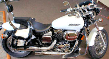 2003 Honda Shadow Spirit 750 motorcycle with white paint color option