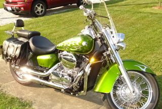 Candy Lime Green Tribal Graphics 2004 Honda VT750 Custom Motorcycle