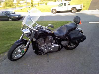 2004 Honda VTX1300C Custom Black, Red & Silver Flames Motorcycle Paint  by The Scarecrow
