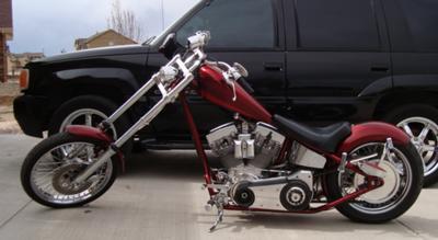 2004 Sain Custom Chopper w 110 Rev Tech engine, custom motorcycle paint and a wide 200 rear tire