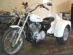 2004 Harley Davidson Sportster Trike Conversion Kit w Pearl White paint color