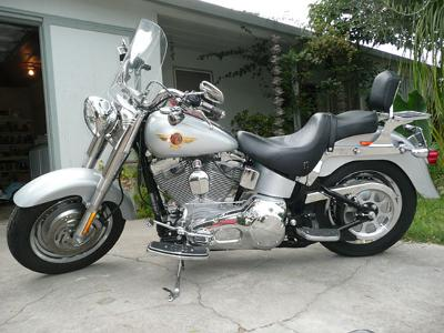 Silver 2005 Anniversery Harley Davidson FatBoy 95 cubic inch