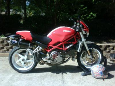 2005 Ducati Monster S4R w Red with white Rally stripe, white Marchesini 5-spoke wheels