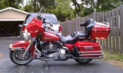 Left Side of the 2005 Harley Davidson FLSTCI Firefighter Special Edition