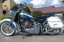 heritage blue and white 2005 harley davidson softail deluxe FLSTN Screaming Eagle 1450 cc